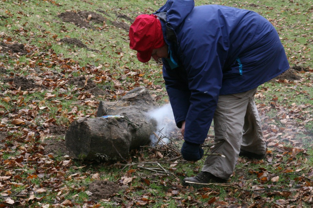 Exmoor Centre Trustee Steve trying to get some warmth going